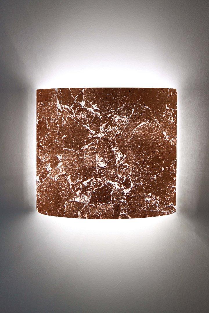 wandleuchte halbrund blattkupfer optik leuchtenmanufaktur brodauf. Black Bedroom Furniture Sets. Home Design Ideas